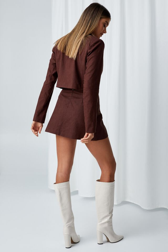 Cece Linen Blend Mini Skirt, CHOCOLATE