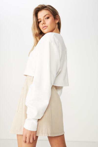 Kayla Long Sleeve Crop Sweat, WINTER WHITE