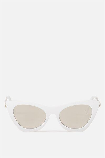 Posh Catty Sunglasses, WHITE/SILVER