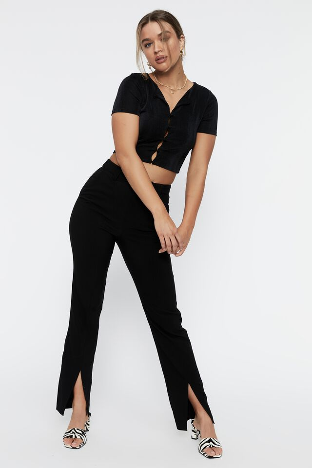 Sydney Split Hem Pant, BLACK