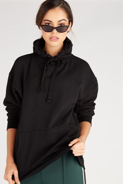 Oversized Sweat Hoodie, BLACK