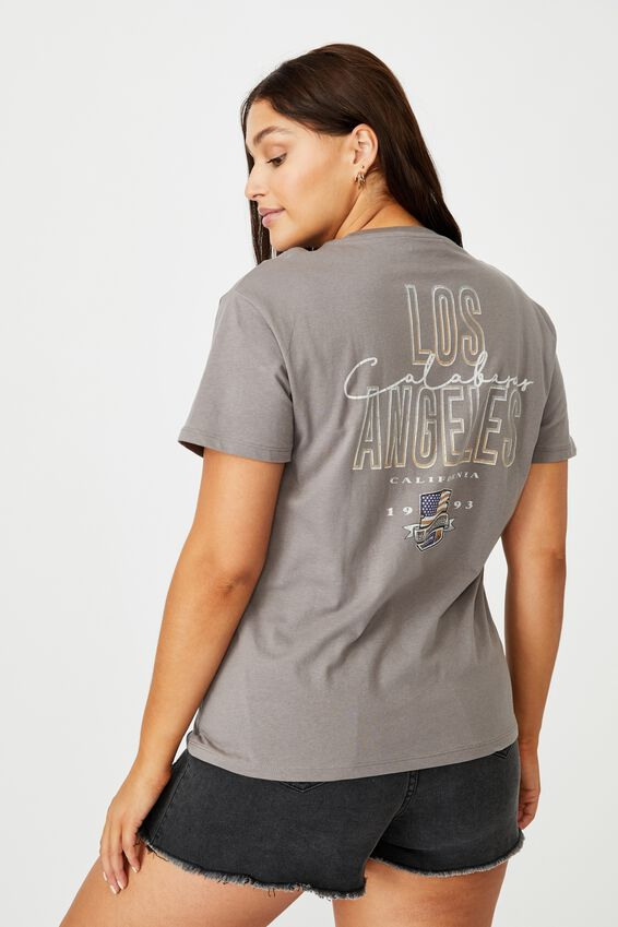 Lola Printed Longline T Shirt, CEMENT GREY/USA CHAMPIONSHIP