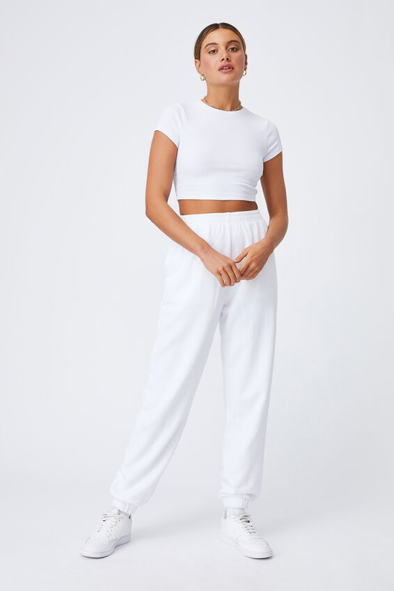 Alissa Fitted Crew Top, WHITE