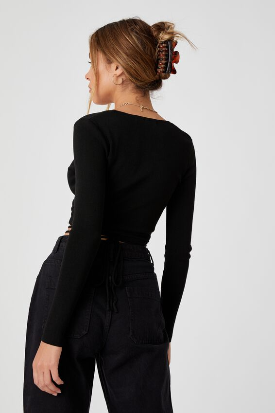 Davina Wrap Knit Top, BLACK
