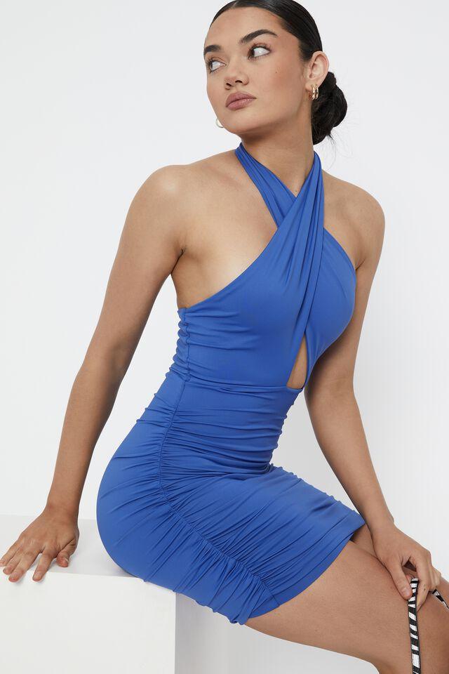 Electra Wrap Halter Mini Dress, SAPPHIRE BLUE