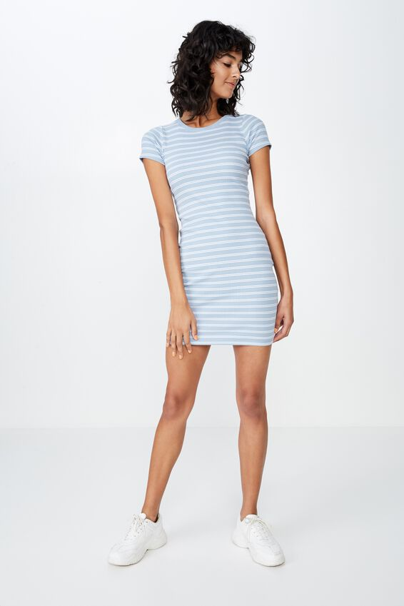 Lucia Rib Tee Mini Dress, DOUBLE STRIPE (BLUE/WHT)