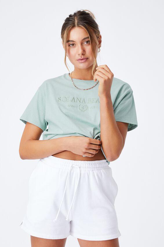 Lola Printed Longline T Shirt, MATCHA GREEN/SOLANA BEACH