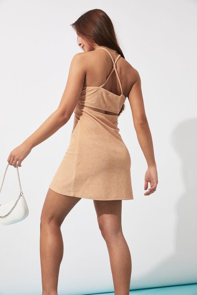 Zanya Terry Towelling Dress, PALE HONEY