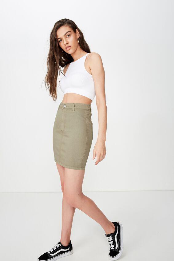 Chloe Stretch Denim Mini Skirt, GUM LEAF