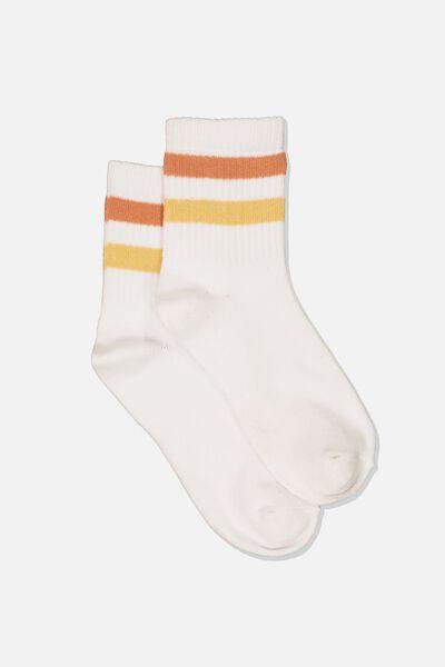 Ombre Stripe 90S Crew Socks, TOFFEE/WHITE