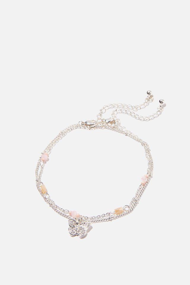 Byron Anklet Bracelet Set, SILVER