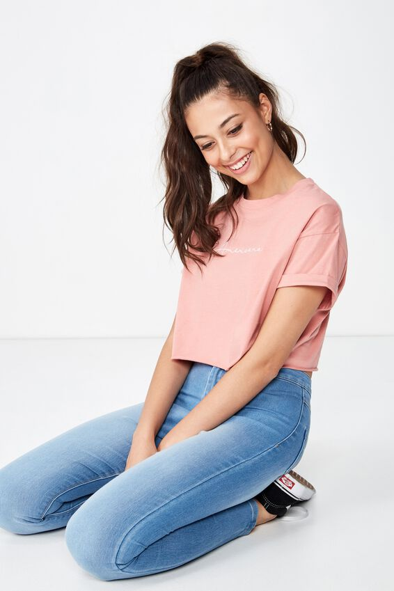 Tamara Graphic Crop Tee, ROSE PINK/AMERICANA