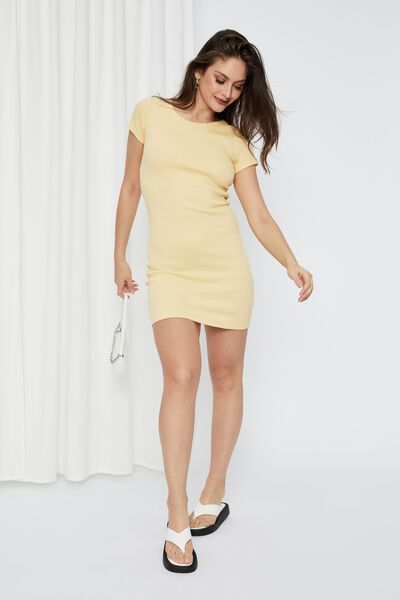 Lucia Rib Tee Mini Dress, PALE GOLD