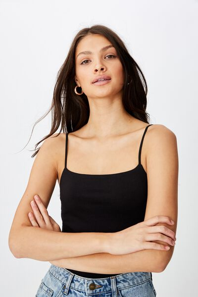 Basic Square Neck Thin Strap Cami, BLACK