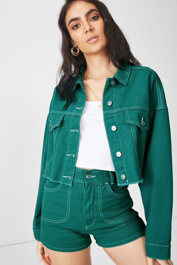 80S Slouchy Crop Denim Jacket, DUSTY JADE