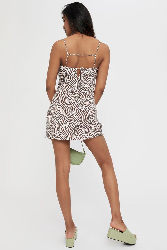 Finley Tie Back Mini Dress, TIA ZEBRA (BRUNETTE)