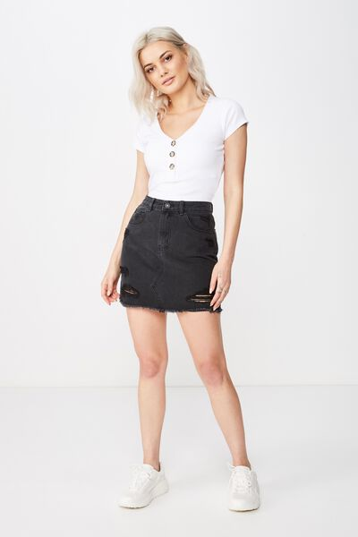 98450b5094 Winona Ultra Destroy Denim Skirt, WASHED BLACK