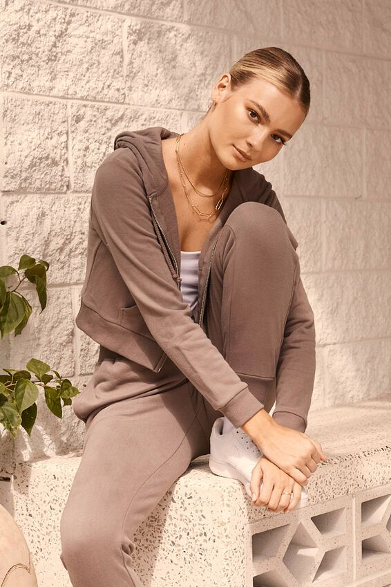 Elizabeth Zip Through Hoodie, CREAMY MOCHA