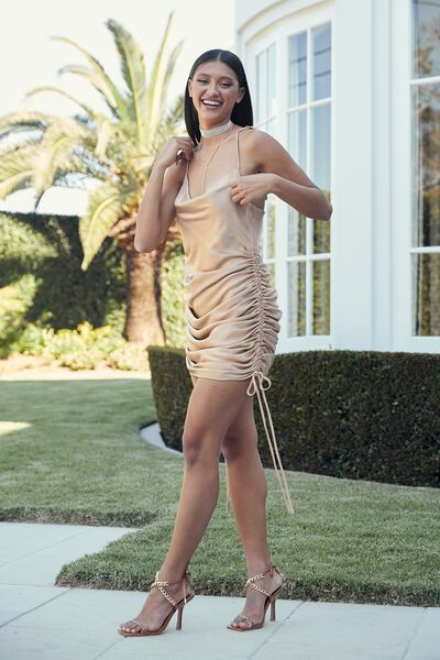Cameron Cowl Neck Ruched Mini Dress, DECO GOLD