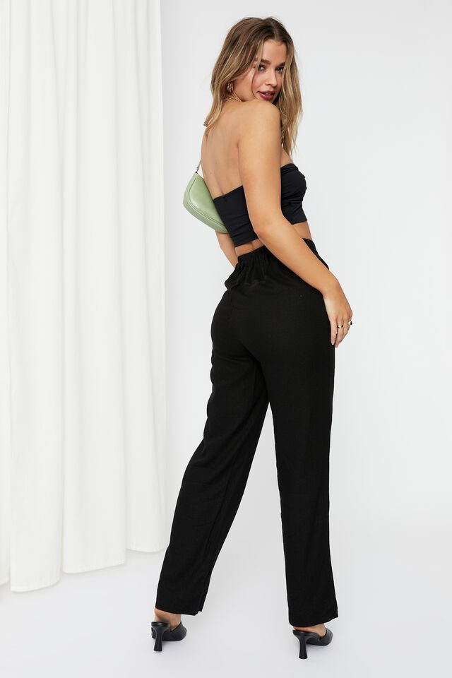 Evalyn Knot Front Strapless Top, BLACK