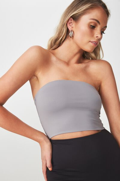 Party Strapless Crop Top, STEEL GREY