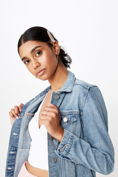 Casual Fitted Denim Jacket, LIGHT WASH BLUE