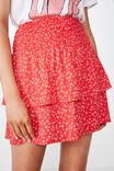 Poppy Shirred Waist Tiered Skirt, WENDY DITSY RED