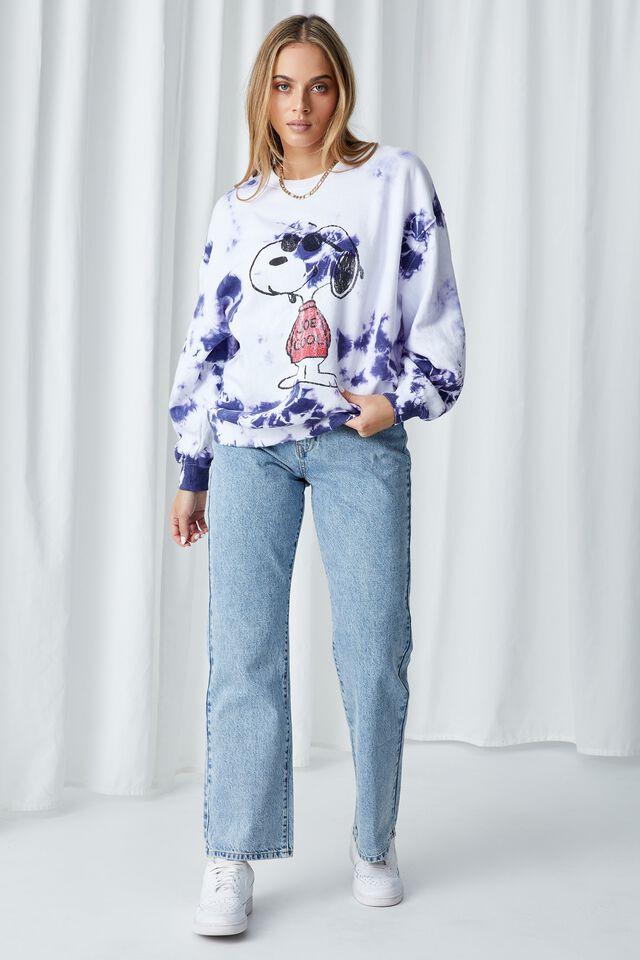 Snoopy Tie Dye Oversized Jumper, TIE DYE (CBLT NVY/WHT)/LCN PEA COOL SNOOPY