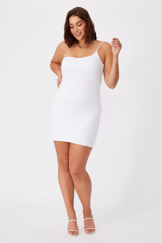 Neveah One Shoulder Mini Dress, WHITE