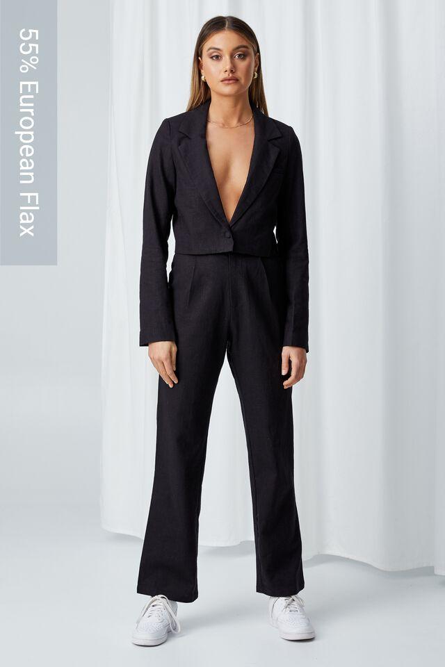 Cece Linen Blend Straight Leg Pant, BLACK