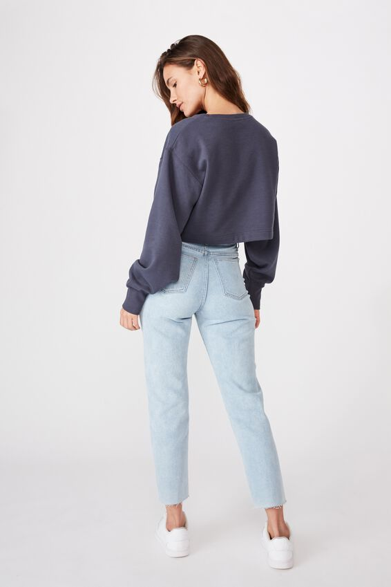 River Long Sleeve Crop Sweat, WASHED NAVY