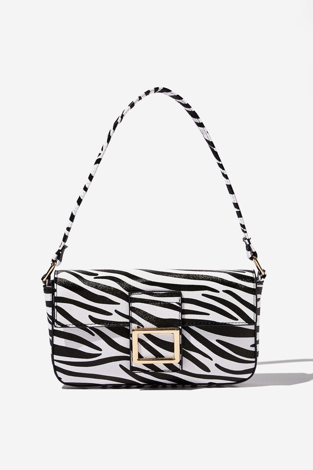 Mena Baguette Shoulder Bag, ZEBRA PRINT