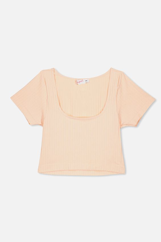 Seamfree Cropped Tee, PINK FLOSS