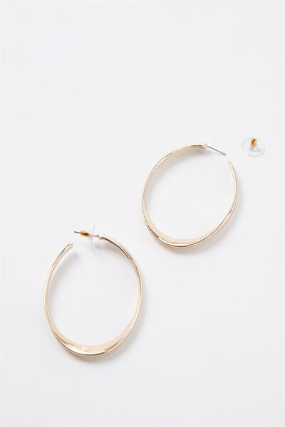 Thick Oval Hoops, GOLD