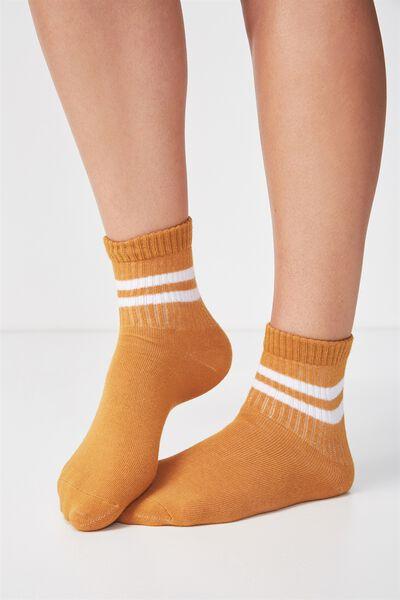 90S Sporty Crew Socks, MUSTARD/WHITE