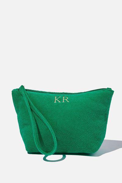 Personalised Towelling Cos Bag, EMERALD