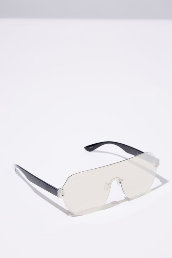Alexia Shield Sunglasses, SILVER/SILVER