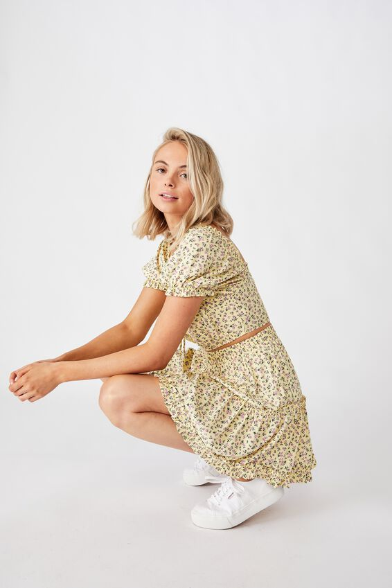 Maisie Tiered Skirt, DAPHNE FLORAL YELLOW