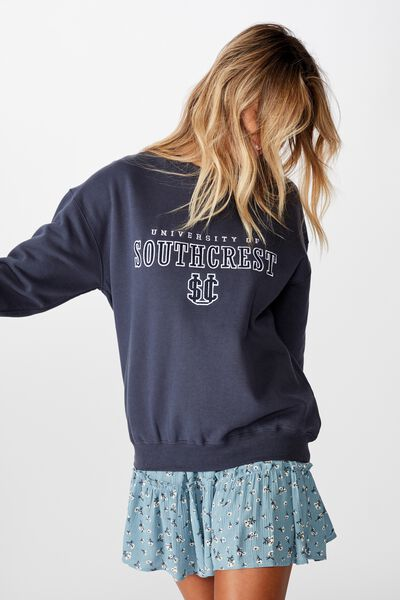 Tanisha Graphic Crew Sweat, WASHED NAVY/SOUTH CREST