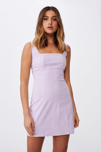 Capri Fitted Square Neck Mini Dress, ORCHID ROSE