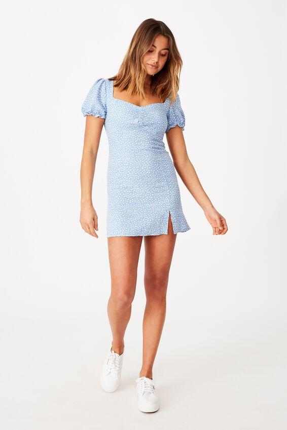 Margot Mini Dress, PEBBLE SPOT BLUE