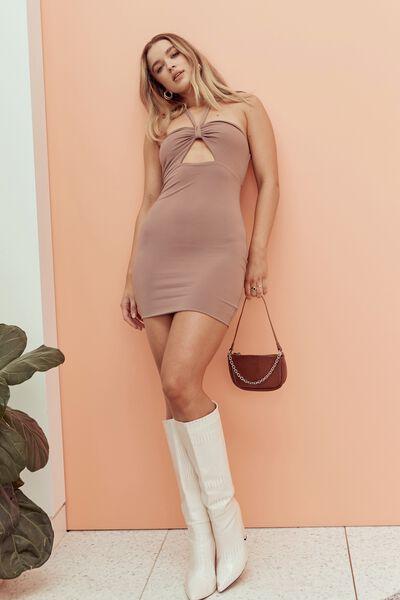 Marnie Knot Halter Mini Dress, CHOC MALT