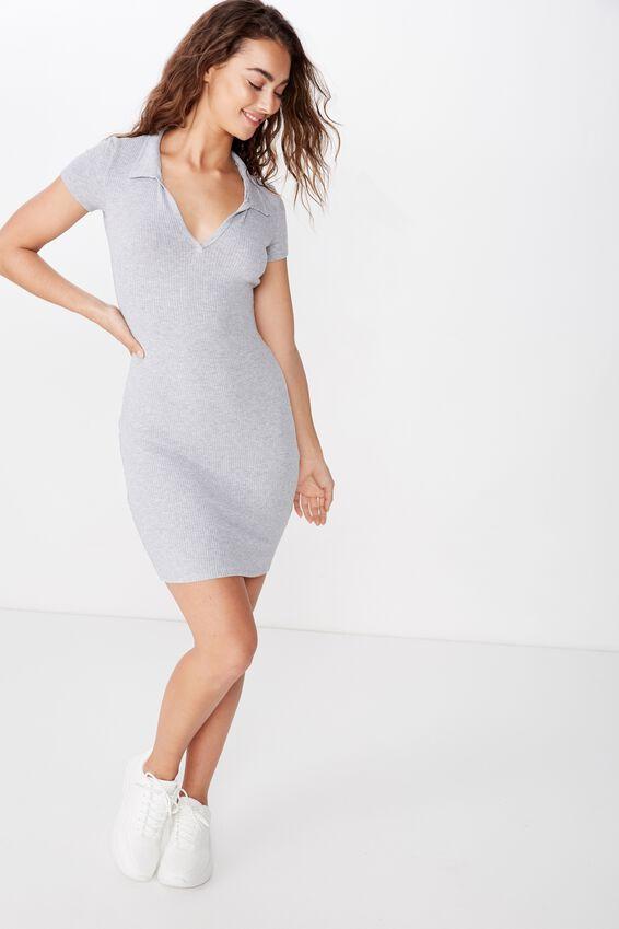 Skyla Collared Mini Dress, GREY MARLE