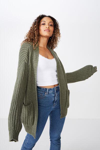 Grace Oversized Cardigan, OLIVE KHAKI