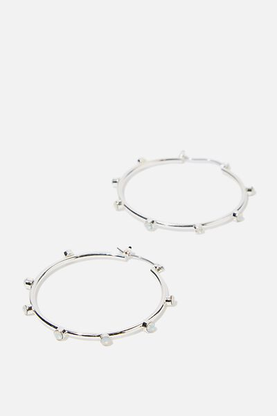 Gem Spike Hoops, SILVER