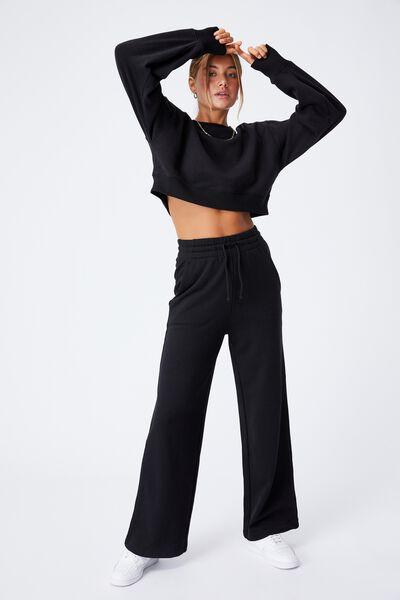 Vanessa Wide Leg Track Pant, BLACK