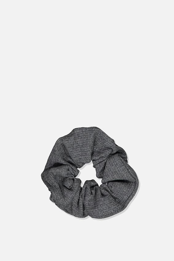 Knitted Rib Scrunchie, CHARCOAL MARLE