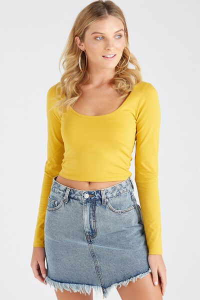 Basic Long Sleeve Tiny Tee, MUSTARD