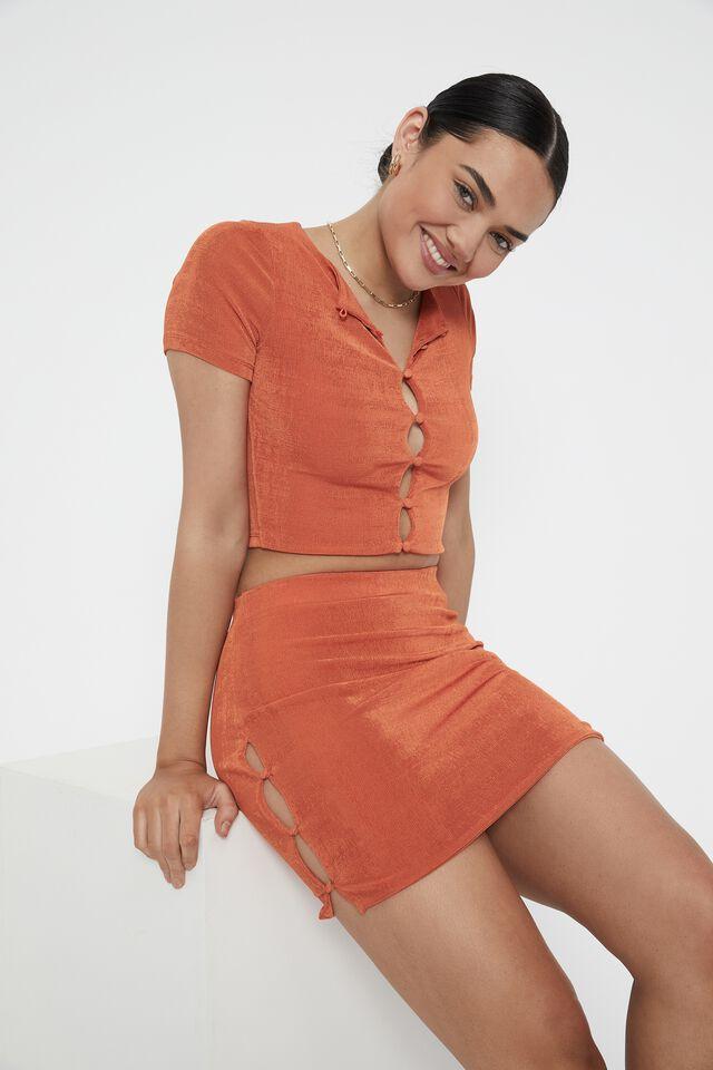 Frankie Button Mini Skirt, DEEP ORANGE