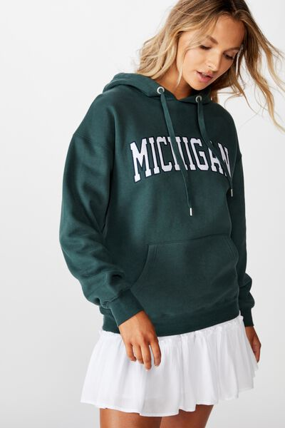 Sage Graphic Hooded Sweat, FOREST GREEN/MICHIGAN COLLEGE